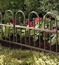 Plow & Hearth Classic Iron Fence Garden Edging - Iron - Pewt