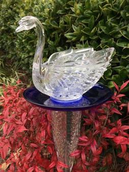 Clear Swan Glass & Cobalt Bird Feeder Garden Totem Repurpose