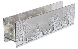 """13.75"""" Clear and White Rustic Woodland Tea Light Christmas C"""