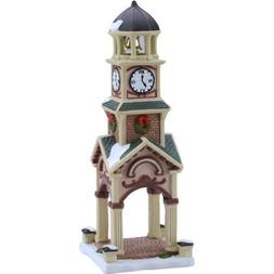 "Holiday Time 9.25"" Clock Tower Christmas Village"