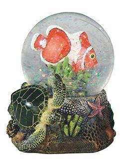 StealStreet Clownfish with Green Turtle Marine Life Snow Glo