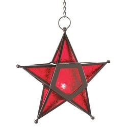 VERDUGO GIFT CO Glass Star Lantern Hanging Candle Holder Chr