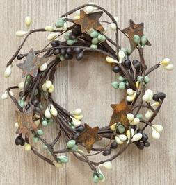 Coffee Bean Pip Candle Ring Mini Wreath Rusty Stars Chocolat