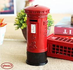 Cafurty Coin Bank, Metal Britain London Street Red Mailbox P