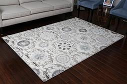 London Collection Oriental Carpet Area Rug Silver Grey Blue
