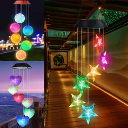 Color Changed Solar Powered Hanging Led  Light Wind Chime Ya
