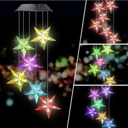 Color-Changing LED Solar Powered Wind Chime Light Lamp Yard