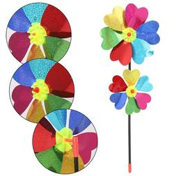 HBB Colorful DIY Sequin Windmill Wind Spinner Home Garden <f