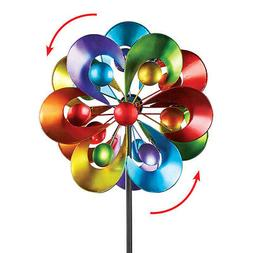 Colorful Double Spinner Yard Stake