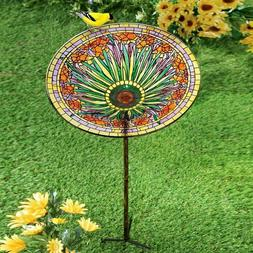 Colorful Floral Metal Bird Bath Bowl Feeder Stake Yard Garde