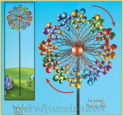 Colorful Metal Double Wind Spinner Stake Outdoor Yard Garden