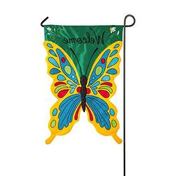 Evergreen Welcome Butterfly Double-Sided Appliqué Garden Fl