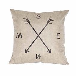 FairyTeller Compass Linen Throw Pillow Case Cushion Cover Ho