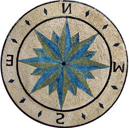 Compass Wind Rose Medallion Marble Mosaic Stone Art Tiles Ha