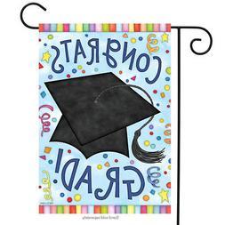 """Congrats Grad Garden Flag Graduation Cap Confetti 12.5"""" x 18"""