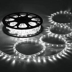 DELight 150ft Cool White 2 Wire LED Rope Light Outdoor Home