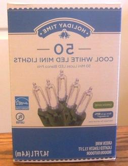 Holiday Time 50 PK Cool White LED Mini Light Green Wire 14.7