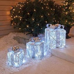 Holiday Home Outdoor Set of 3 Cool White Twinkling Gift Boxe