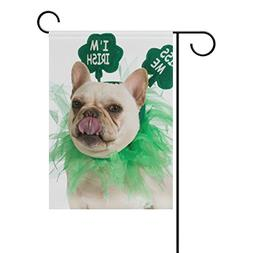 Cooper girl St Patricks Day French Bulldog Garden Flag Yard