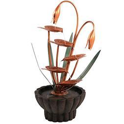 Sunnydaze Copper Flower Petals with Five Tier Leaves Outdoor