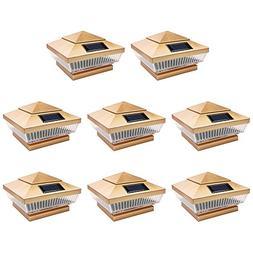 8 Pack Copper Outdoor Garden 4 x 4 Solar 5-LED Post Deck Cap