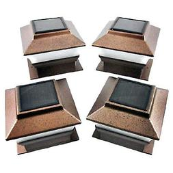 iGlow 8 Pack Copper Outdoor Garden 4 x 4 Solar LED Post Deck