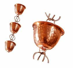 Monarch Pure Copper Hammered Cup Rain Chain Extension, 3 Fee