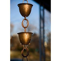 Monarch 8.5 ft. Copper Hammered Cup with Ring Rain Chain