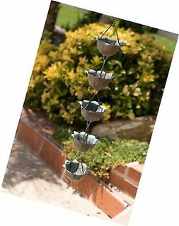 Monarch Pure Copper Lotus Rain Chain, 8-1/2 Feet Length