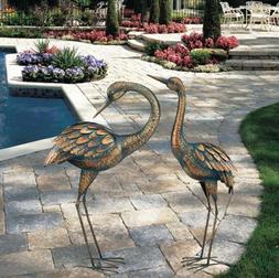 Copper Patina Crane Metal Garden Yard Art Lawn Bird Sculptur