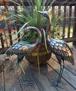 Copper Patina Crane Pair Metal Garden Decor Statues Bird Yar