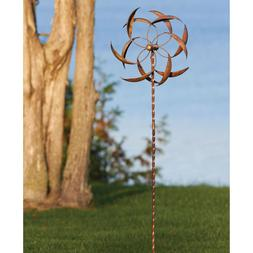 Copper Plated Metal Wind Spinner Stake Outdoor Garden Yard D