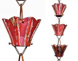 U-nitt 8-1/2 feet Pure Copper Rain Chain: Aged Star Flower 8