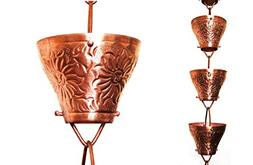 U-nitt 8-1/2 feet Pure Copper Rain Chain: Embossed Sunflower