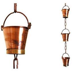 U-nitt 8-1/2 feet Pure Copper Rain Chain for Gutter: Bucket