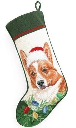 Corgi in Santa Hat Needlepoint Christmas Stocking