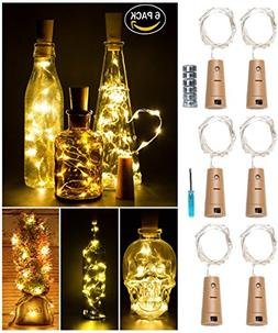 LED Cork Light for Wine Bottle,Starry String Light,Pack of 6