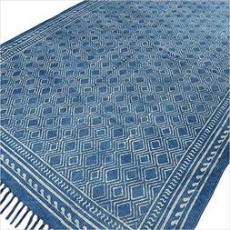 EYES OF INDIA - 4 X 6 ft Indigo Blue Cotton Block Print Acce