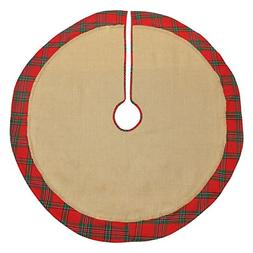 DII 100% Cotton Border, Christmas Holiday Burlap Tree Skirt,