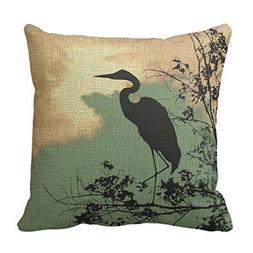 Romantichouse Cotton Linen Square Decorative Blue Heron Nurs