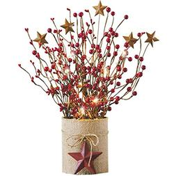 LED Country Berry Branches Centerpiece
