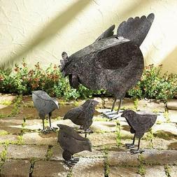 Country Hen With Chicks Garden Decor Sculpture Patio Garden