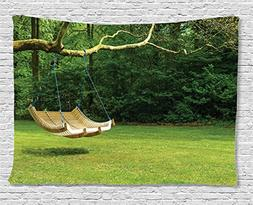 Ambesonne Country Home Decor Collection, Curved Swing Bench