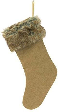 """20"""" Country Rustic Style Camel Brown Christmas Stocking with"""