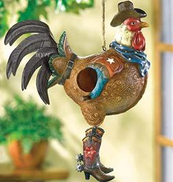 Country Western Cowboy Rooster Chicken Bird House Shelter Ga
