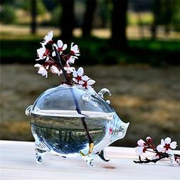 SHINA Creative Clear Glass Small Pig Type Table Vase Decorat