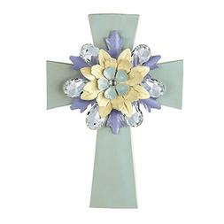 Crystal Accented Flower Wall Cross, Green