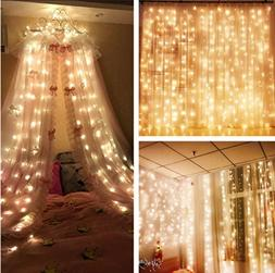 MZD8391 Curtain Icicle Lights, 9.8 X 9.8ft 304 LED Starry Fa