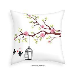 VROSELV Custom Cotton Linen Pillowcase Flying Birds Decor Co