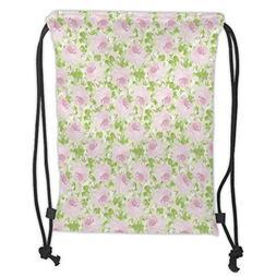 Custom Printed Drawstring Backpacks Bags,Shabby Chic Decor,C
